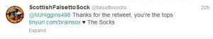 Falsetto Sock retweet